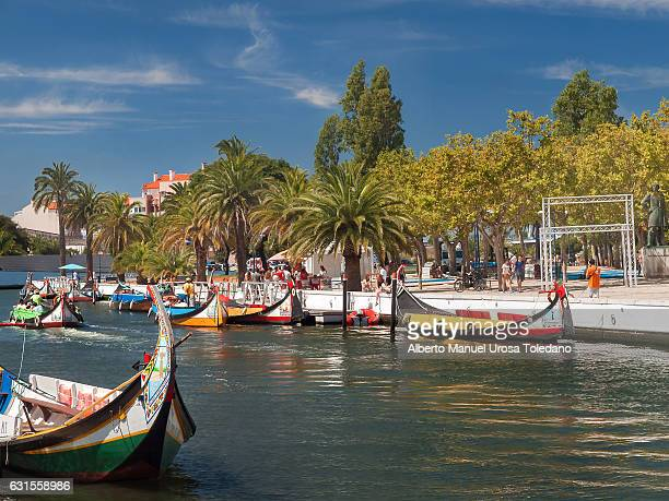 portugal, aveiro, moliceiro boat - aveiro district stock pictures, royalty-free photos & images