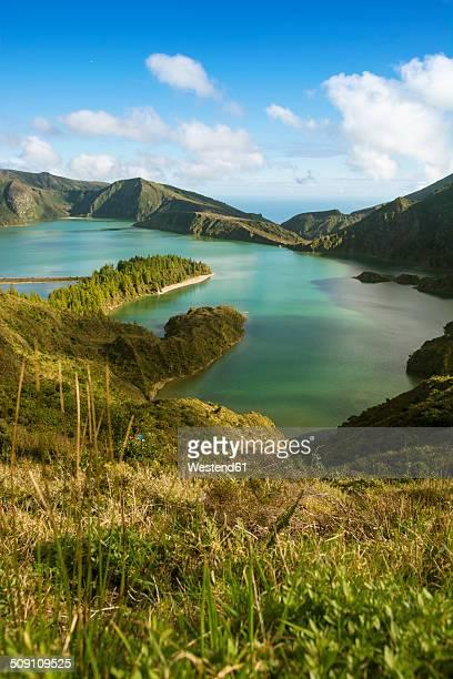 portugal, azores, sao miguel, crater lake lago di fogo - azores fotografías e imágenes de stock