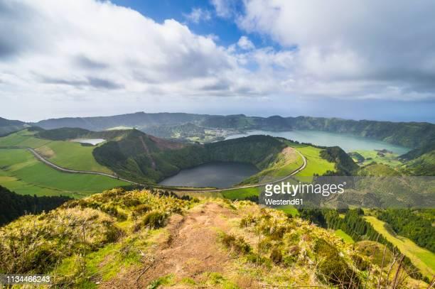 portugal, azores, sao miguel, lagoa das sete cidades - caldera stock pictures, royalty-free photos & images