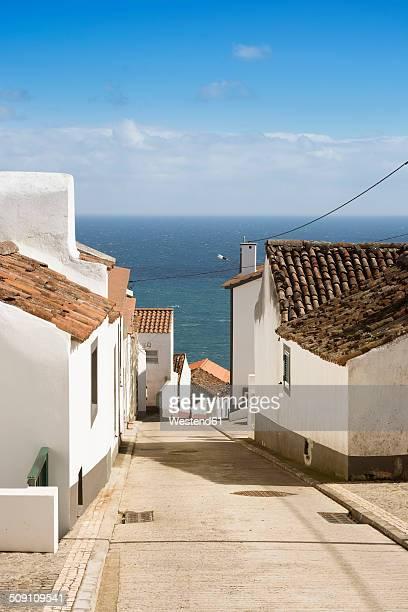 Portugal, Azores, Sao Miguel, Nordeste, Alley with sea view