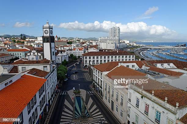 portugal, azores, sao miguel, old town, view to church igreja matriz de sebastiao - ponta delgada stock photos and pictures