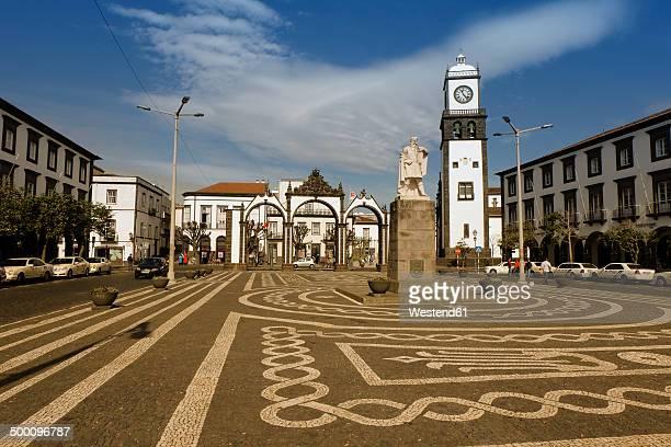 portugal, azores, sao miguel, town gate and church of ponta delgada - ponta delgada stock photos and pictures