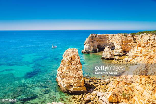 portugal beach, algarve, portimao - algarve stock photos and pictures