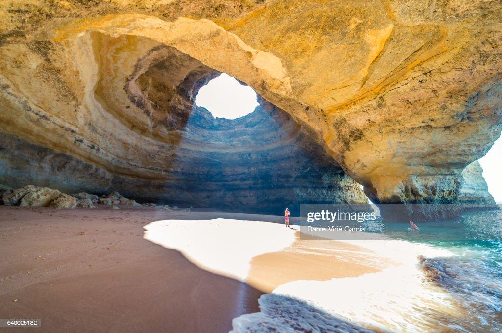 Portugal, beach of Benagil, cave. : Stock Photo