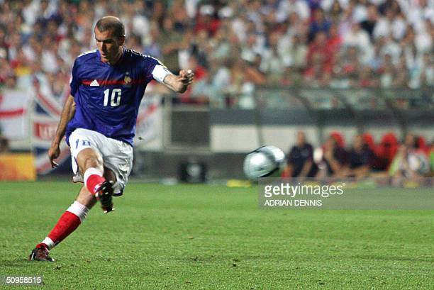 BEST OF ENGLAND FRANCE AT EURO 2004 French captain Zinedine Zidane shoots and scores France's equaliser against England 13 June 2004 during their...
