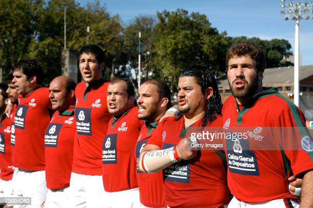 Portugal captain Vasco Uva leads his team to qualify for the Rugby World Cup 2007 in France in spite of losing 1812 against Uruguay on March 24 2007...