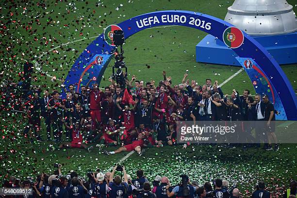 Portugal celebrate winning the European Championship Final between Portugal and France at Stade de France on July 10 2016 in Paris France