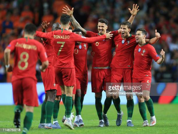 Portugal celebrate winning the Nations League during the UEFA Nations League Final between Portugal and the Netherlands at Estadio do Dragao on June...