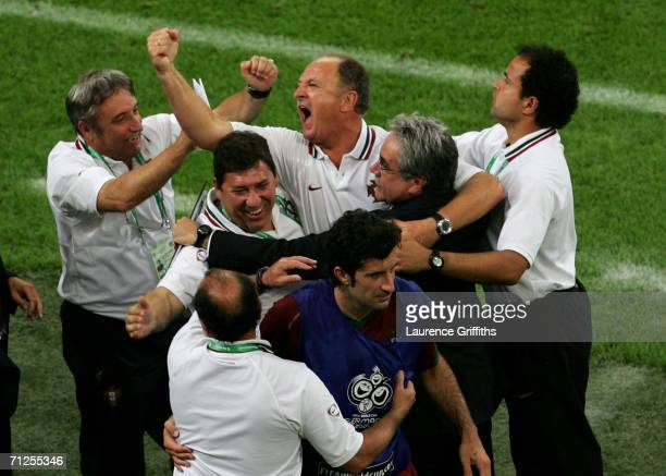 Portugal coach Luiz Felipe Scolari celebrates on the sidelines after his team won the FIFA World Cup Germany 2006 Group D match between Portugal and...