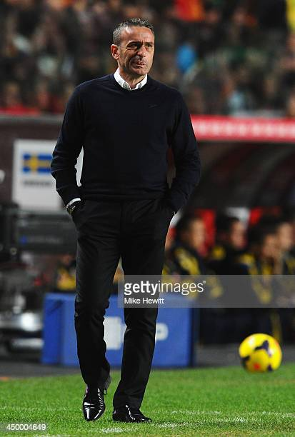 Portugal coach Paulo Bento looks on during the FIFA 2014 World Cup Qualifier Play-off First Leg between Portugal and Sweden at Estadio da Luz on...