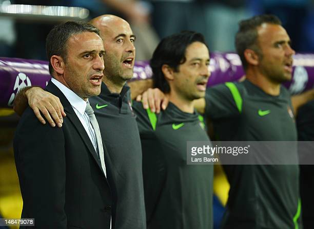 Portugal coach Paulo Bento sings the national anthem before the UEFA EURO 2012 group B match between Portugal and Netherlands at Metalist Stadium on...