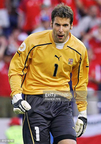 Czech goalkeeper Petr Cech is seen 01 July 2004 at Dragao stadium in Porto during the Euro 2004 semi final match between Greece and Czech Republic at...