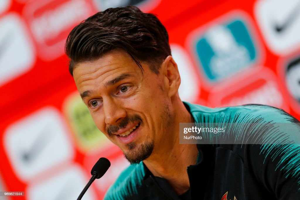 Portugal defender Jose Fonte during the press conference and training session at Cidade do Futebol training camp in Oeiras, outskirts of Lisbon, on May 31, 2018 ahead of the friendly football match against Belgium on June 2.
