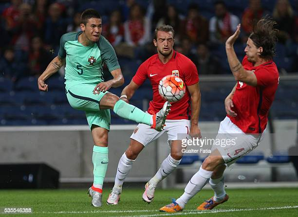 Portugal defender Raphael Guerreiro in action during the International Friendly match between Portugal and Norway at Estadio do Dragao on May 29 2016...