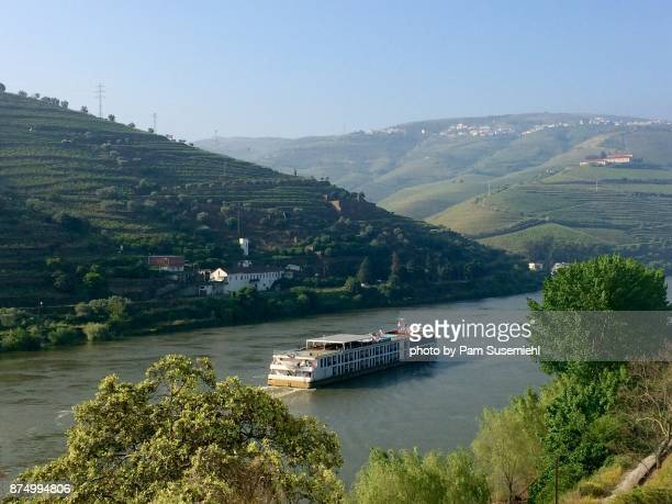 portugal, douro valley riverboat - douro valley stock photos and pictures