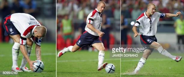 England captain David Beckham prepares to kick a penalty 24 June 2004 during their European Nations Championship quarterfinal football match between...