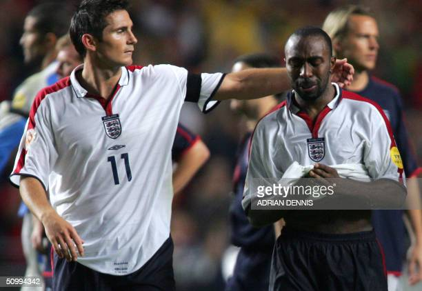 England Darius Vassell cries after missing his penalty 24 June 2004 during their European Nations football championships quarterfinal match between...