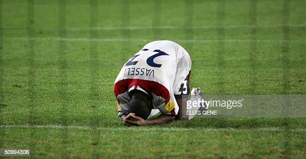 England Darius Vassell reacts after missing his penalty kick 24 June 2004 during their European Nations Championship quarterfinal football match...