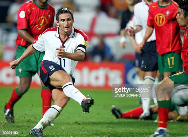 England midfielder Frank Lampard scores during the prolongations 24 June 2004 during their European Nations Championship quarterfinal football match...