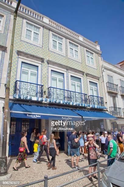 Portugal Estredmadura Lisbon Belem People queuing outside Pasteis de Belem cafe famous for its Pastel de Nata baked egg custard tarts
