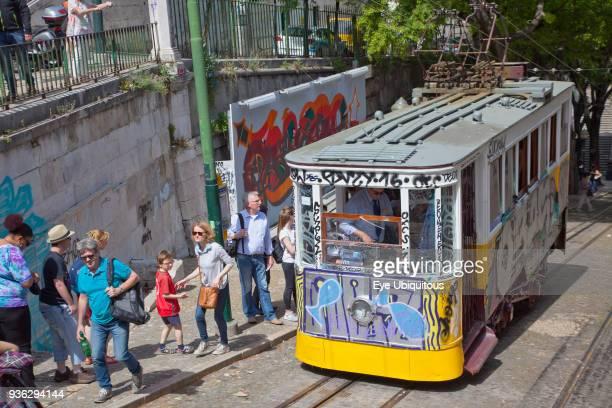 Portugal Estremadura Lisbon Bairro Alto Elevador da Gloria Funicular railway tram covered in graffiti