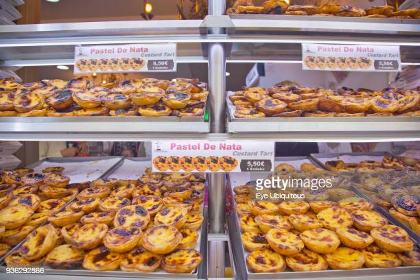 Portugal Estremadura Lisbon Baixa Display of custard cakes and pastries