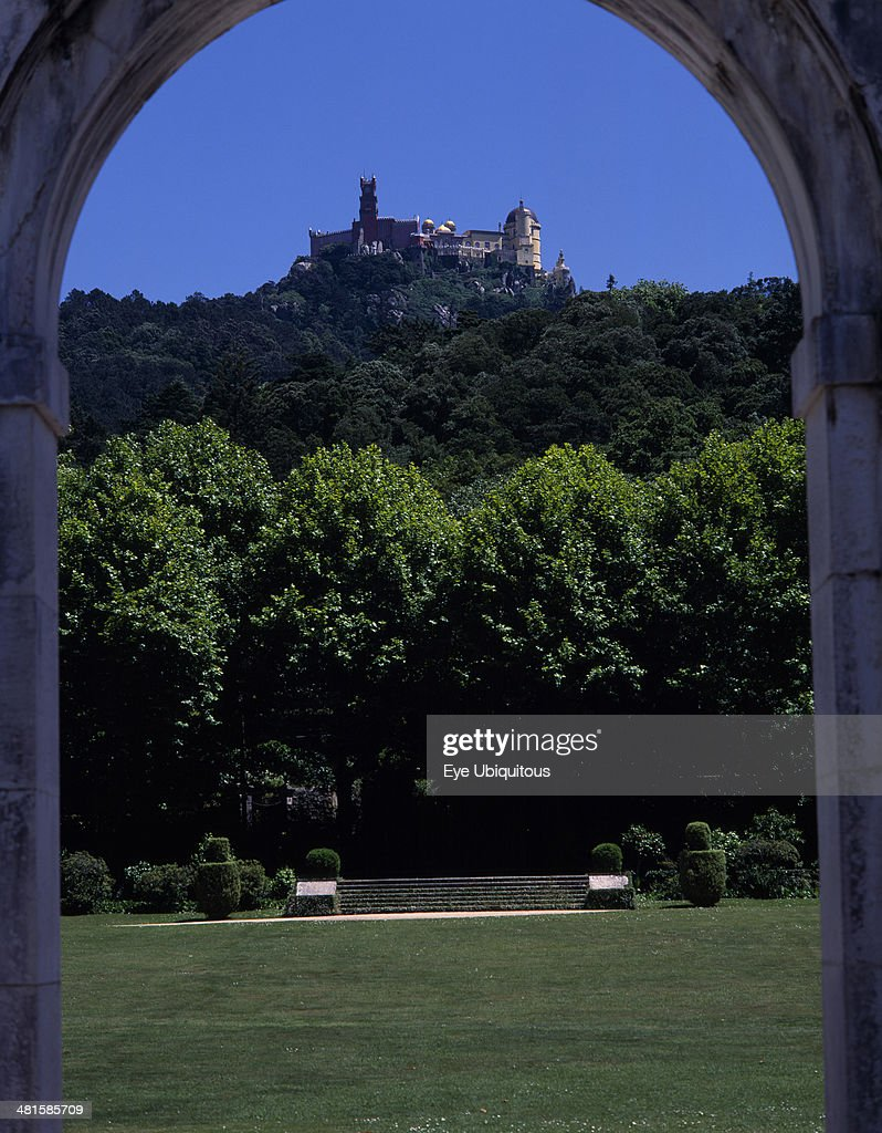 Portugal, Estremadura, Sintra, Pena Palace seen in the