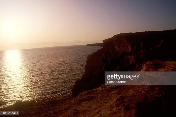 Portugal Europa Algarve Reise Bucht Felsen Klippen Sonnenuntergang Meer Wasser