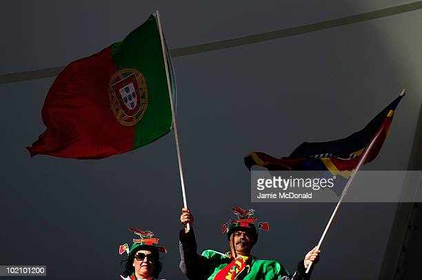 Portugal fan enjoys the atmosphere ahead of the 2010 FIFA World Cup South Africa Group G match between Ivory Coast and Portugal at Nelson Mandela Bay...