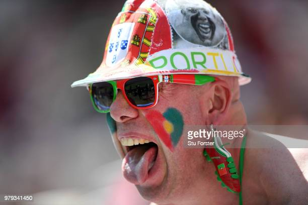 Portugal fan enjoys the prematch atmosphere prior to the 2018 FIFA World Cup Russia group B match between Portugal and Morocco at Luzhniki Stadium on...