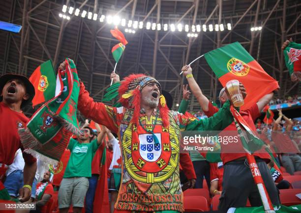 Portugal fan shows their support prior to the UEFA Euro 2020 Championship Group F match between Hungary and Portugal at Puskas Arena on June 15, 2021...