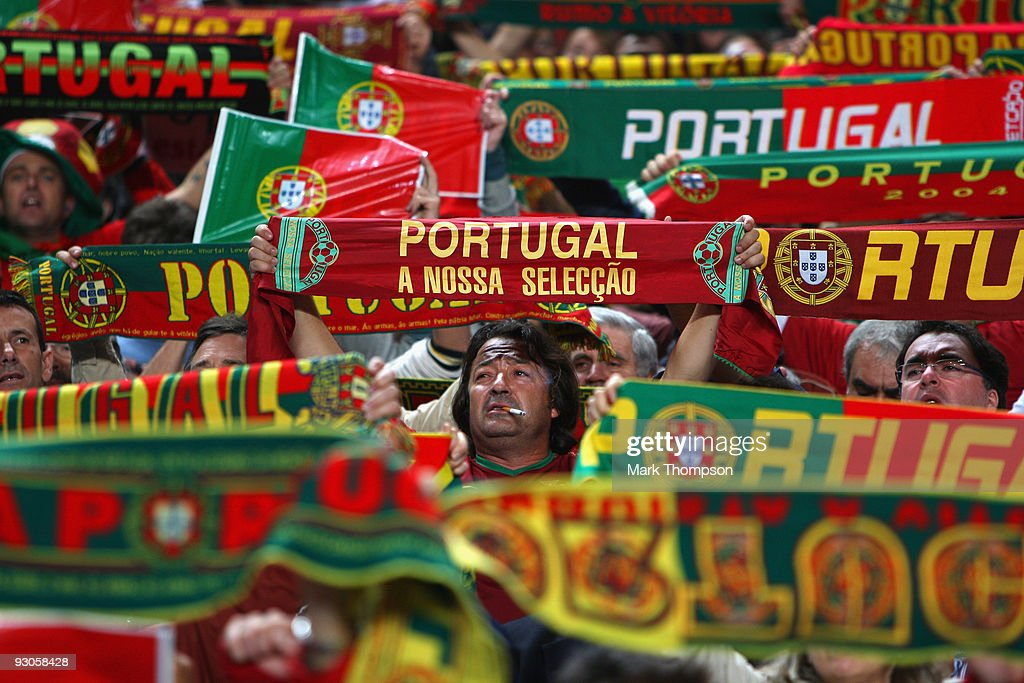 Portugal fans during the FIFA 2010 European World Cup qualifier first leg match between Portugal and Bosnia-Herzegovina at the Luz stadium on November 14, 2009 in Lisbon, Portugal.