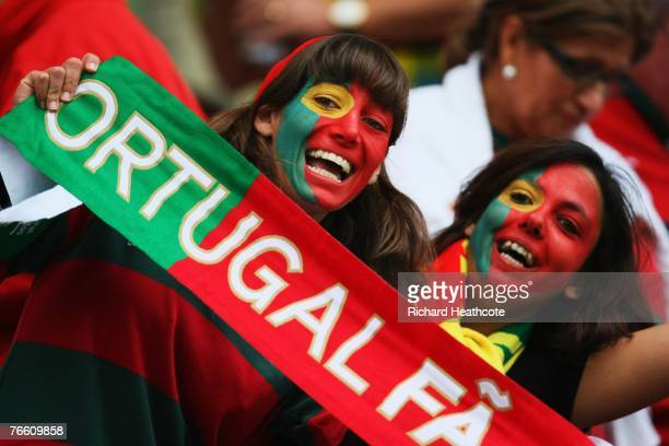 Portugal fans look on prior to match seven of the Rugby World Cup 2007 between Scotland and Portugal at the Stade Geoffroy Guichard on September 9,...