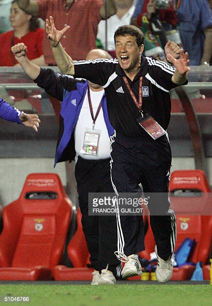 FILES Picture taken 04 July 2004 at the Luz stadium in Lisbon shows Greece's German coach Otto Rehhagel celebrating after the Euro 2004 final match...