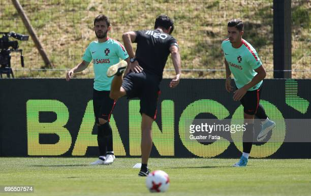 Portugal forward Andre Silva and teammate Portugal midfielder Bernardo Silva in action during the Portugal's National Team Training session before...