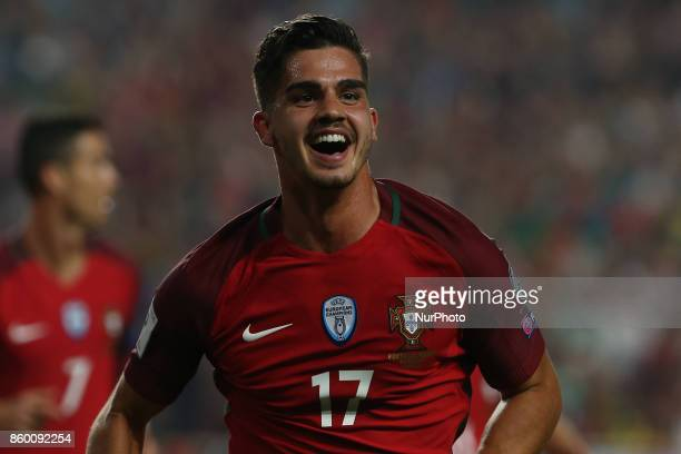 Portugal forward Andre Silva celebrating after scoring a goal during the match between Portugal v Switzerland FIFA 2018 World Cup Qualifier match at...