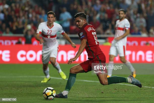 Portugal forward Andre Silva kicking a goal during the match between Portugal v Switzerland FIFA 2018 World Cup Qualifier match at Luz Stadium on...