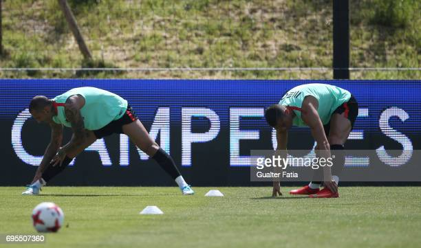 Portugal forward Cristiano Ronaldo and teammate Portugal forward Ricardo Quaresma in action during the Portugal's National Team Training session...