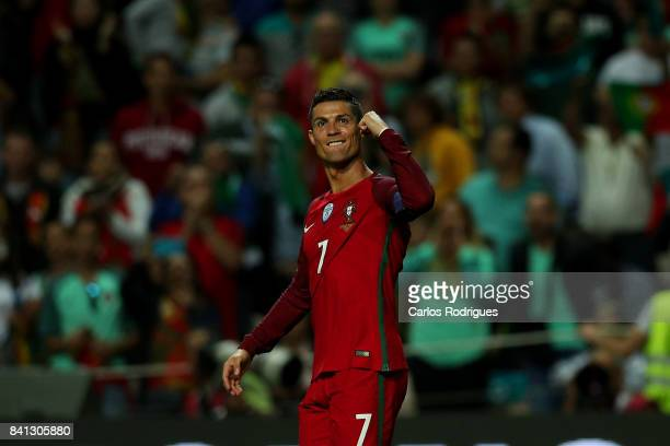 Portugal forward Cristiano Ronaldo celebrates scoring Portugal fourth goal during the match between Portugal v Faroe Islands FIFA 2018 World Cup...