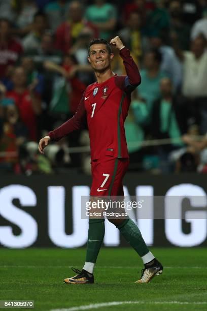 Portugal forward Cristiano Ronaldo celebrates scoring Portugal fourth goal during the match between Portugal v Faroe Islands FIFA 2018 World Cup...