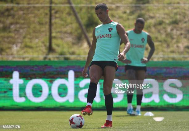 Portugal forward Cristiano Ronaldo in action during the Portugal's National Team Training session before the 2017 FIFA Confederations Cup matches at...
