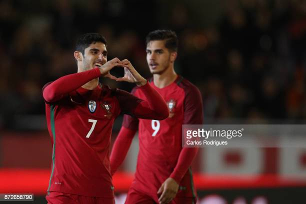 Portugal forward Goncalo Guedes celebrates scoring Portugal second goal during the match between Portugal and Saudi Arabia InternationalFriendly at...