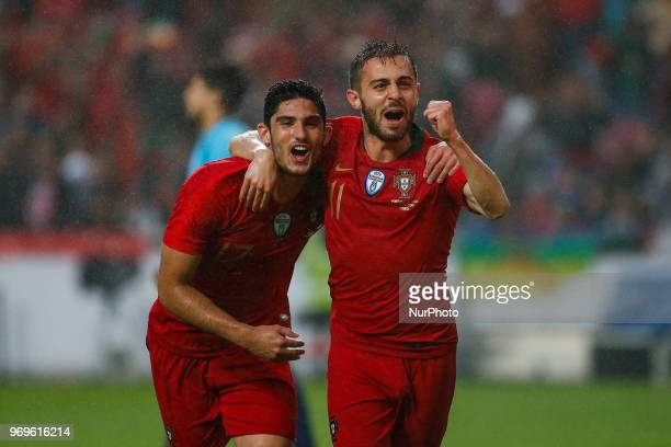 Portugal forward Goncalo Guedes celebrating with Portugal midfielder Bernardo Silva after scoring a goal during the friendly match of preparation for...