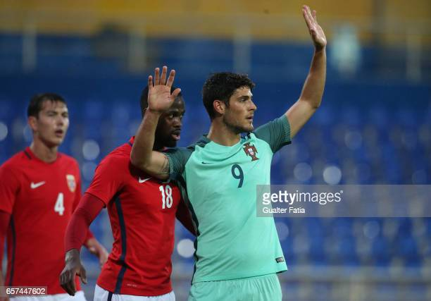Portugal forward Goncalo Paciencia with Vajebah Sakor of Norway during the U21 International Friendly match between Portugal and Norway at Estadio...