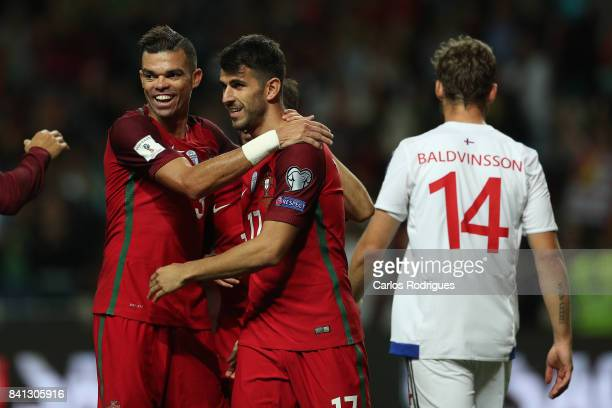 Portugal forward Nelson Oliveira celebrates scoring Portugal fifth goal with Portugal defender Pepe during the match between Portugal v Faroe Islands...