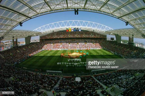 General view of the Euro 2004 opening ceremony taken 12 June 2004 at Dragao stadium in Porto, before the beginning of the Euro 2004 group A first...