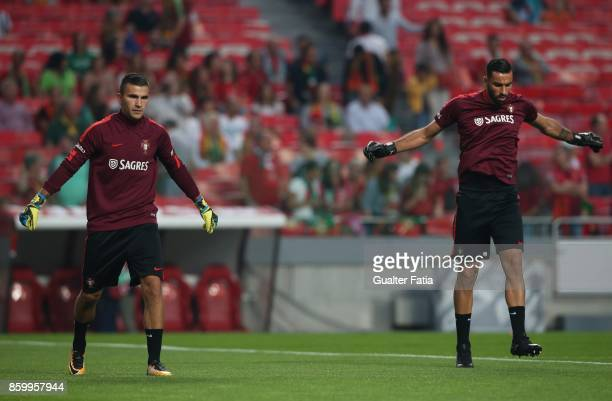 Portugal goalkeeper Anthony Lopes and Portugal goalkeeper Rui Patricio in action during warm up before the start of the FIFA 2018 World Cup Qualifier...
