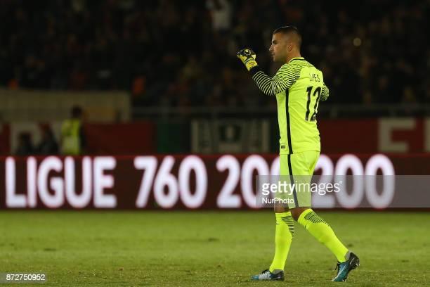 Portugal goalkeeper Anthony Lopes celebrating the first goal of the match during Portugal v Saudi Arabia International Friendly at Estadio do Fontelo...