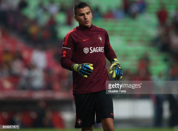 Portugal goalkeeper Anthony Lopes in action during warm up before the start of the FIFA 2018 World Cup Qualifier match between Portugal and...