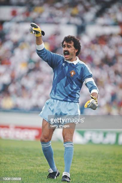 Portugal goalkeeper Bento reacts during the 1986 FIFA World Cup match between Portugal and England in Monterrey on June 3 1986 in Mexico Photo Mike...